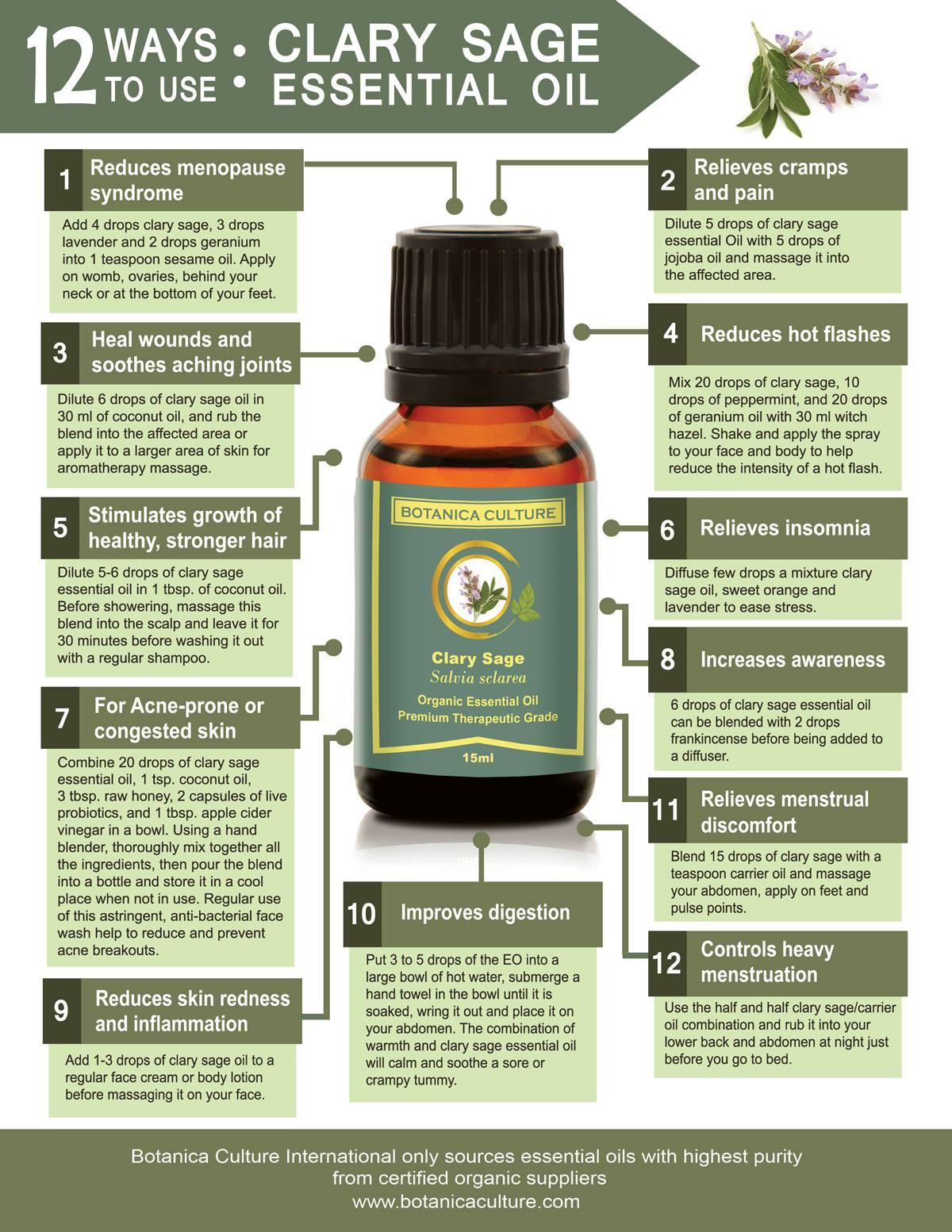 Organic Clary Sage Essential Oil 15ml